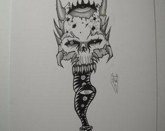 SKULL1 - Original art -  Fantasy Horror Gothic Strange