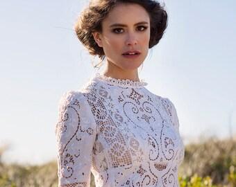 EDWARDIAN Vintage Nottingham lace wedding dress
