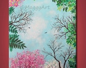 looking up,Spring,cherry blossom - 20x16inch original modern painting, on stretched canvas, ready to hang