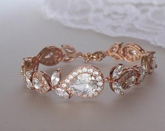 Rose Gold Bracelet, Pink Gold Bridal Bracelet, Teardrop Crystal Bracelet, Crystal Wedding Bracelet, Rose Gold Bridal Jewelry,