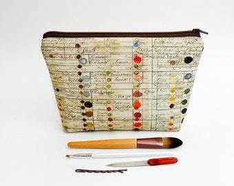 Vintage Color Guide Makeup Bag - Large Pencil Case - Zipper Pouch - Art Supply Bag