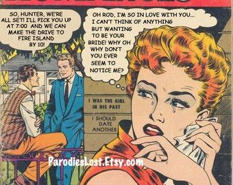 Gay Exotic Romances Comic Book Remix Print Vintage Art Not the Marrying Kind