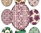 Asian Patterns Ovals, TWO Sheets - 30X40mm AND 18X25mm, Digital Printable Images for Pendants Earrings Cabochons Paper Crafts, CS 58