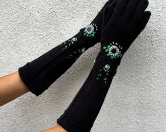 Handmade Black Long Gloves - Candy by Dom Klary