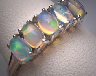 Vintage Opal Ring Band Wedding Engagement Anniversary Estate Retro Art Deco
