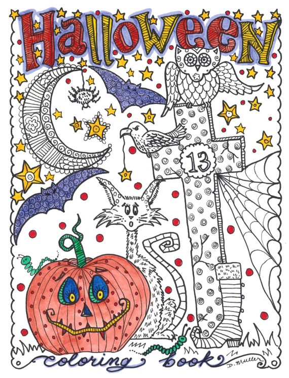 Halloween Coloring Book For Adults By The Chubby Mermaid