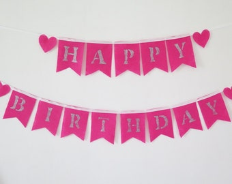 Birthday bunting, happy birthday banner girl, Party decoration , Girl Glitter Banner , Baby Girl Bunting