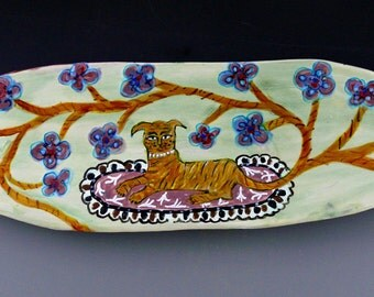 Tiger with Flower Tail, Oval Ceramic Platter, Decorative Platter, Animal Art, Dog Art, Colorful Platter, Kitchen Platter, Animal Platters