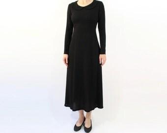 VINTAGE Black Dress Round Collar Long