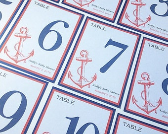 Wedding Table Numbers, Beach Wedding, Anchor Table Numbers