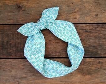 aqua and white headscarf, retro, tie up headband, adjustable, summer fall fashion, knotted headband, under 15, stocking stuffer