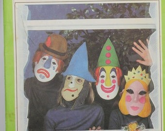 Simplicity 8780 Vintage 1970s Mask Transfer Pattern Clown Princess Witch Halloween Uncut Pattern