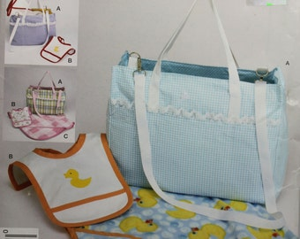 Diaper Bag Bib Blanket Simplicity 2838 Easy Craft UNCUT Sewing Pattern