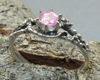 Mythological Stone Protector Ring, Natural Pink Sapphire, Recycled Sterling Silver, October, September