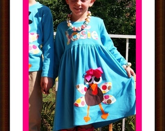 Thanksgiving Turkey Dress with Name -  Infant Toddler Youth Girl - You Choose Dress Color