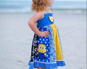 Girls Minion Twirl Dress, Minion Inspired Dress up Dress, available in sizes 2T- 8girls.