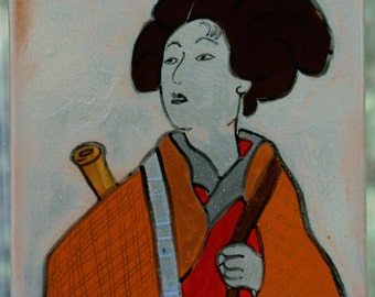 Walking geisha--handmade fused glass window panel