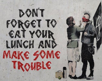 Banksy Canvas (READY TO HANG) - Eat Your Lunch - Multiple Canvas Sizes