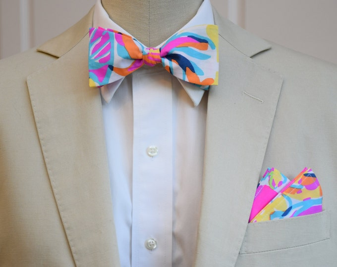 Men's Pocket Square & Bow Tie, Lilly multi Besame Mucho, wedding party wear, groomsmen gift, groom bow tie set, men's gift set,prom style