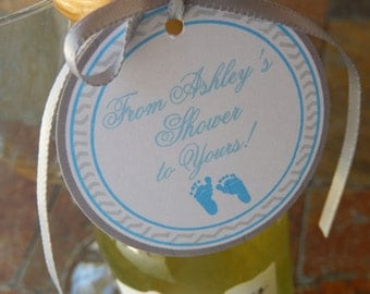 """50 Baby Shower Thank You 2"""" Custom Favor Tags - for Mini Wine or Champagne Bottles - Mason Jar Gifts - Baby Feet in Pink or Blue Favor Tags"""