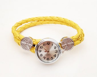 Get 15% OFF - Silvertone Peace Charm Yellow Leather Bracelet Snap Button Watch - Valentine's Day SALE 2016