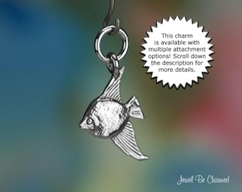 Sterling Silver Angelfish Charm Swimming Amazon or Aquarium Fish .925