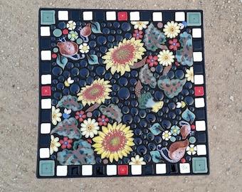 """16"""" Square, garden mosaic tile table. Handmade ceramic mosaic quail, sunflower art tiles."""