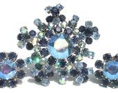 Vintage Blue Rhinestone Brooch & Clip On Earrings Set Signed Austria with Aurora Borealis on Silver Rhodium Plating - Vintage Jewelry