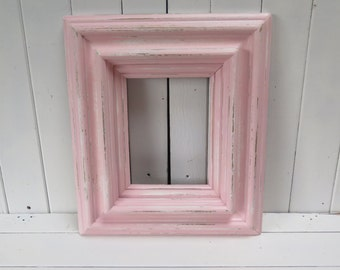 Chunky Shabby Chic Pink Picture Frame Beach Cottage distressed frame