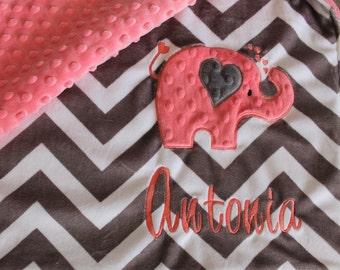 Baby Blanket, minky blanket, Personalized blanket, blanket, elephant blanket, 29 x 35 baby blankets