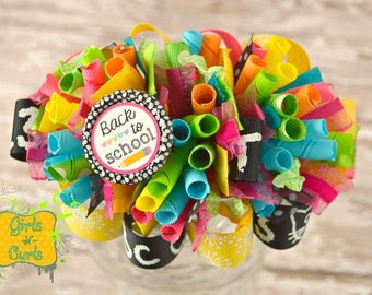 Ready To Ship Back To School Funky Loopy Boutique Bow