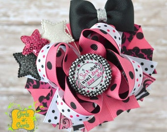 """Ready To Ship Cant Stop Wont Stop Grooving 4 1/2""""  Layered Boutique Bow"""