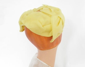 1960s yellow hat, vintage halfhat, excellent condition
