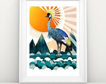 Crowned Crane // A3 print