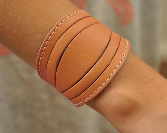 Leather bracelet in tan -turquoise leather , named Lela MADE TO ORDER