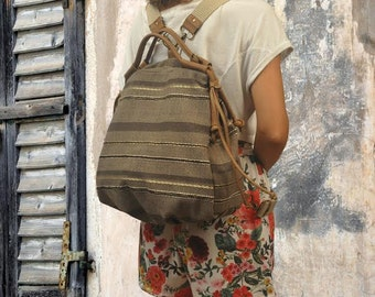 Backpack boho,bohemian striped brown cotton canvas-leather,  called Katerina,MADE TO ORDER
