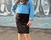Girls Knit pencil skirt in black