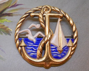1940s Brass Nautical Anchor & Rope Brooch New Old Stock