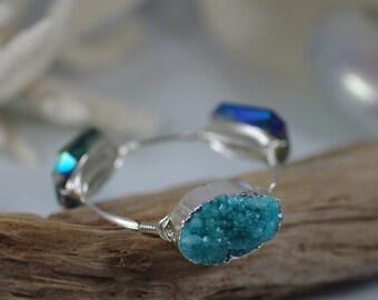 Caribbean Blue Druzy Bangle Bracelet with Blue Green Crystals