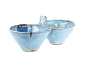 Two bowl condiment serving dish in Sky / attached sauce bowls / dual serving dish / hand thrown pottery bowls / double dipper