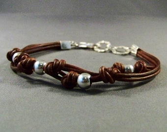 Sterling Silver Bracelet With Leather-Wrist Women's Bracelet-Silver Charm Bracelet-Gifts-Silver Beads Bracelet-Women's Bracelet