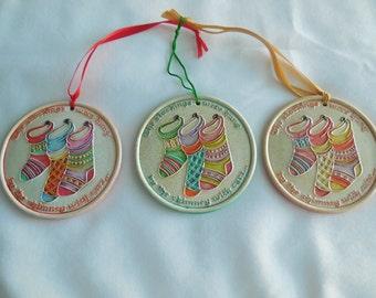 Handpainted Ceramic Stocking Ornament