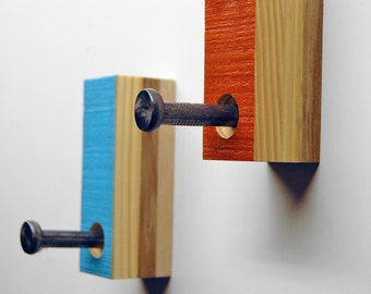 Single Coat Hook - Made from reclaimed wood and hand painted.