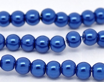 SALE - 5 Strands - 10mm Dark Blue Glass Pearl Imitation Round Beads - 16 inch strand
