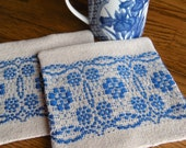 Handwoven Drink Coasters, Beige and Blue Fabric Coasters, Set of Two Coasters, Woven Mug Rugs, Hand Woven Coasters, Coaster Set, Weaving