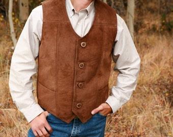 Men's Sheepskin Gambler Vest