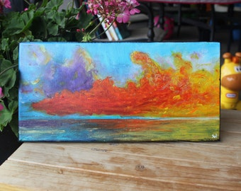 Amarillo Somewhere water sunset acrylic painting metallic art