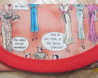 Wallet, clutch, bag, Hi-Fashion Vintage look fabric, 6 x 3 Gift Card size, Business card size, lining bright orange  fabric.