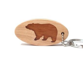 Rustic Bear Key Chain, Wood Scroll Saw Woodland Animal Key Ring, Bear Key Fob, Woodland Accessories, Lodge Keychain, Cherry
