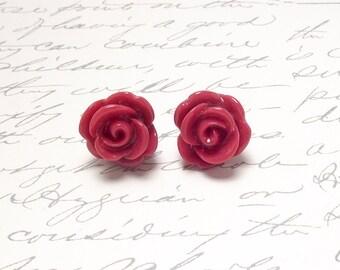 Red Rose Stud Earrings. Set of Red Rose Flower Stud Earrings. Resin Floral Post Earrings. Large Statement Earrings.